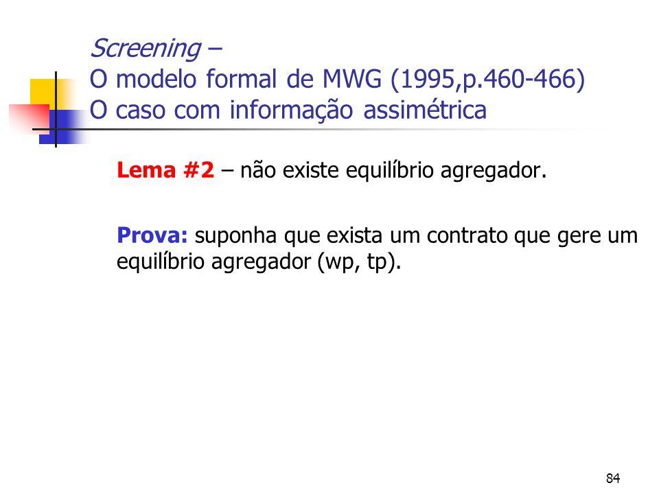 84 Screening – O modelo formal de MWG (1995,p.460-466) O caso com informação assimétrica Lema #2 – não existe equilíbrio agregador. Prova: suponha que