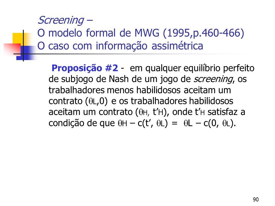 90 Screening – O modelo formal de MWG (1995,p.460-466) O caso com informação assimétrica Proposição #2 - em qualquer equilíbrio perfeito de subjogo de