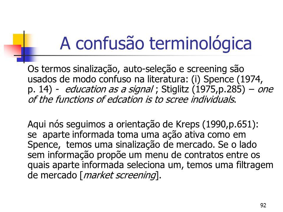 92 A confusão terminológica Os termos sinalização, auto-seleção e screening são usados de modo confuso na literatura: (i) Spence (1974, p. 14) - educa