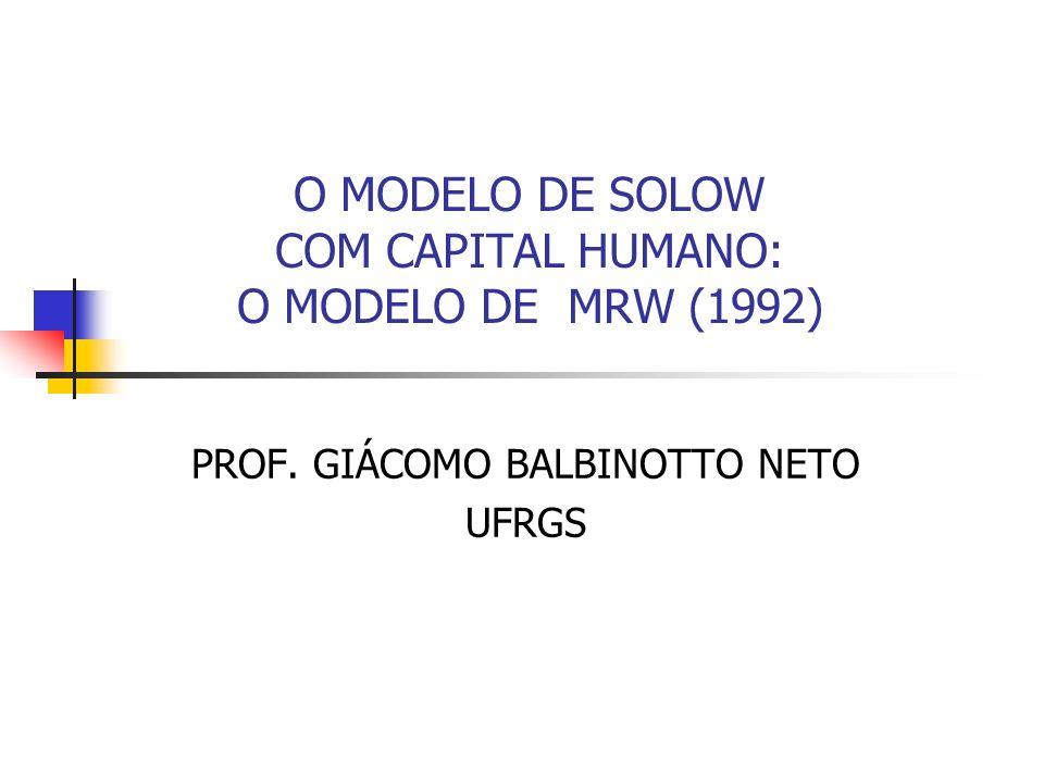O MODELO DE SOLOW COM CAPITAL HUMANO: O MODELO DE MRW (1992) PROF. GIÁCOMO BALBINOTTO NETO UFRGS