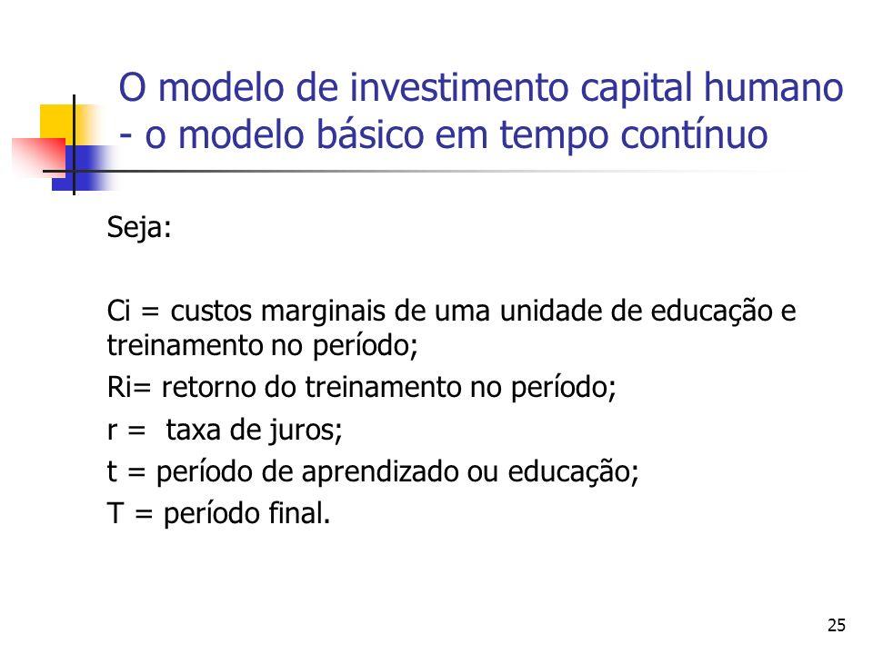 25 O modelo de investimento capital humano - o modelo básico em tempo contínuo Seja: Ci = custos marginais de uma unidade de educação e treinamento no período; Ri= retorno do treinamento no período; r = taxa de juros; t = período de aprendizado ou educação; T = período final.