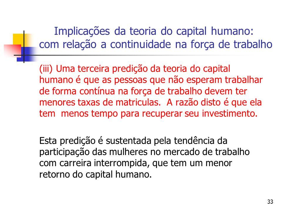 33 Implicações da teoria do capital humano: com relação a continuidade na força de trabalho (iii) Uma terceira predição da teoria do capital humano é que as pessoas que não esperam trabalhar de forma contínua na força de trabalho devem ter menores taxas de matriculas.