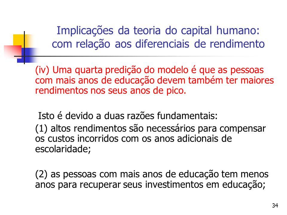 34 Implicações da teoria do capital humano: com relação aos diferenciais de rendimento (iv) Uma quarta predição do modelo é que as pessoas com mais anos de educação devem também ter maiores rendimentos nos seus anos de pico.