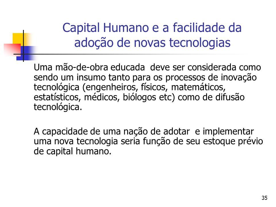 35 Capital Humano e a facilidade da adoção de novas tecnologias Uma mão-de-obra educada deve ser considerada como sendo um insumo tanto para os processos de inovação tecnológica (engenheiros, físicos, matemáticos, estatísticos, médicos, biólogos etc) como de difusão tecnológica.