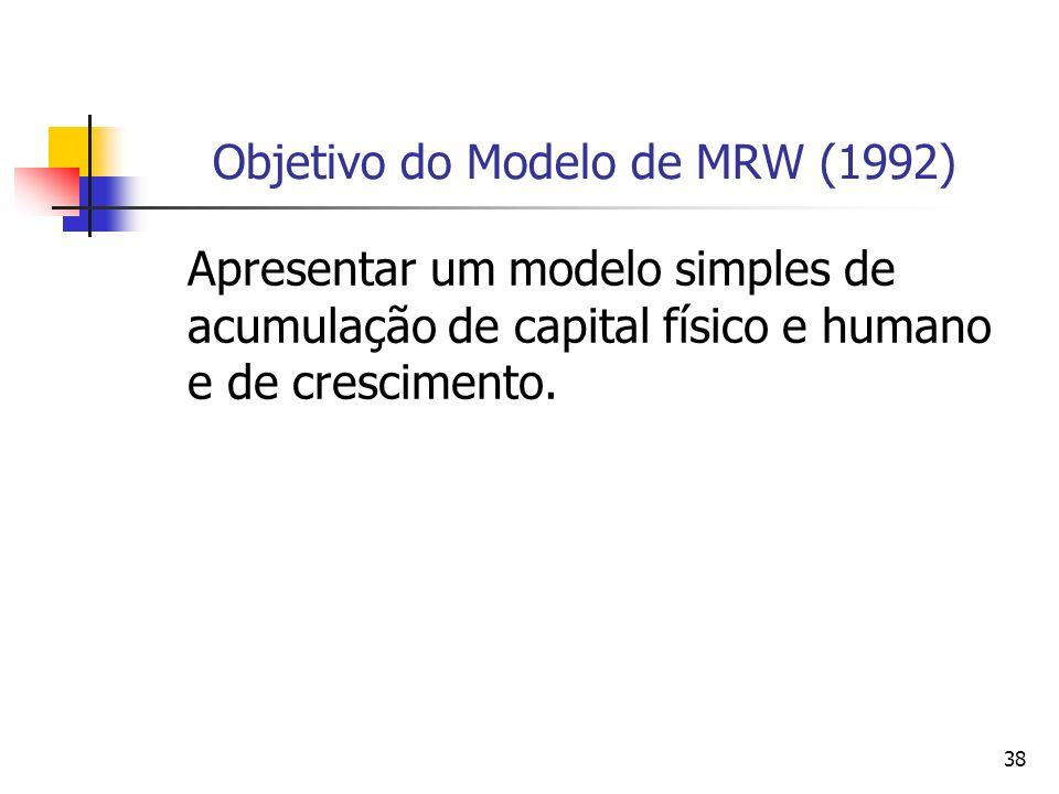 38 Objetivo do Modelo de MRW (1992) Apresentar um modelo simples de acumulação de capital físico e humano e de crescimento.