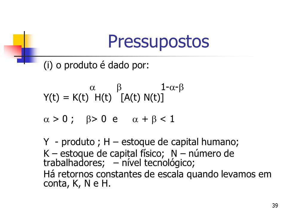 39 Pressupostos (i) o produto é dado por: 1- - Y(t) = K(t) H(t) [A(t) N(t)] > 0 ; > 0 e + < 1 Y - produto ; H – estoque de capital humano; K – estoque de capital físico; N – número de trabalhadores; – nível tecnológico; Há retornos constantes de escala quando levamos em conta, K, N e H.