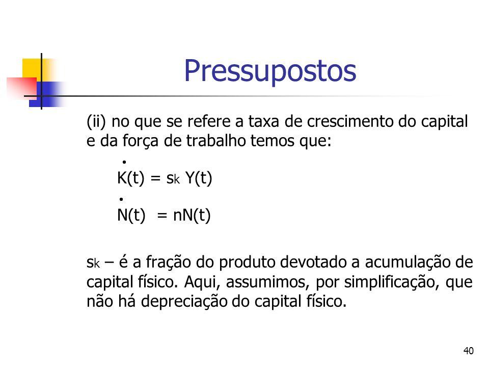 40 Pressupostos (ii) no que se refere a taxa de crescimento do capital e da força de trabalho temos que: K(t) = s k Y(t) N(t) = nN(t) s k – é a fração do produto devotado a acumulação de capital físico.