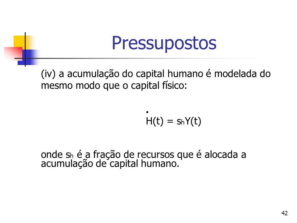 42 Pressupostos (iv) a acumulação do capital humano é modelada do mesmo modo que o capital físico: H(t) = s h Y(t) onde s h é a fração de recursos que é alocada a acumulação de capital humano.