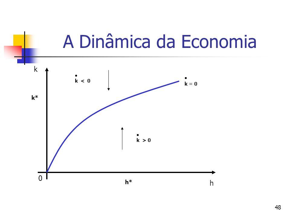 48 A Dinâmica da Economia 0 k h k = 0 k < 0 k > 0 h* k*