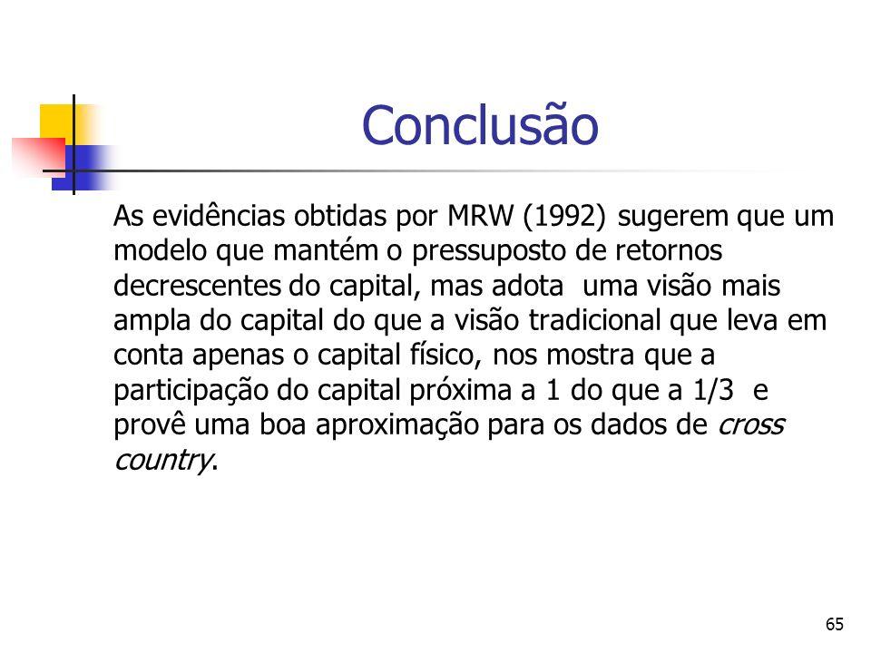 65 Conclusão As evidências obtidas por MRW (1992) sugerem que um modelo que mantém o pressuposto de retornos decrescentes do capital, mas adota uma visão mais ampla do capital do que a visão tradicional que leva em conta apenas o capital físico, nos mostra que a participação do capital próxima a 1 do que a 1/3 e provê uma boa aproximação para os dados de cross country.
