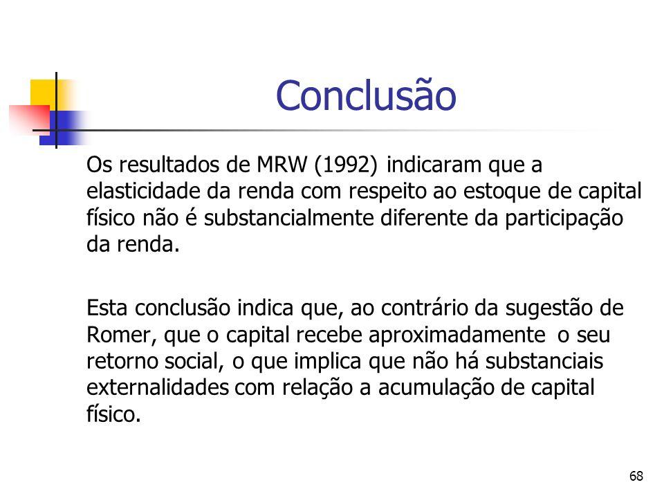 68 Conclusão Os resultados de MRW (1992) indicaram que a elasticidade da renda com respeito ao estoque de capital físico não é substancialmente diferente da participação da renda.