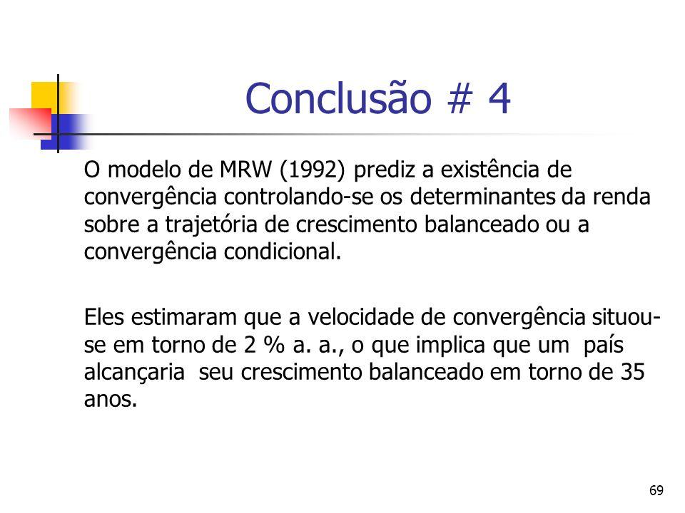 69 Conclusão # 4 O modelo de MRW (1992) prediz a existência de convergência controlando-se os determinantes da renda sobre a trajetória de crescimento balanceado ou a convergência condicional.