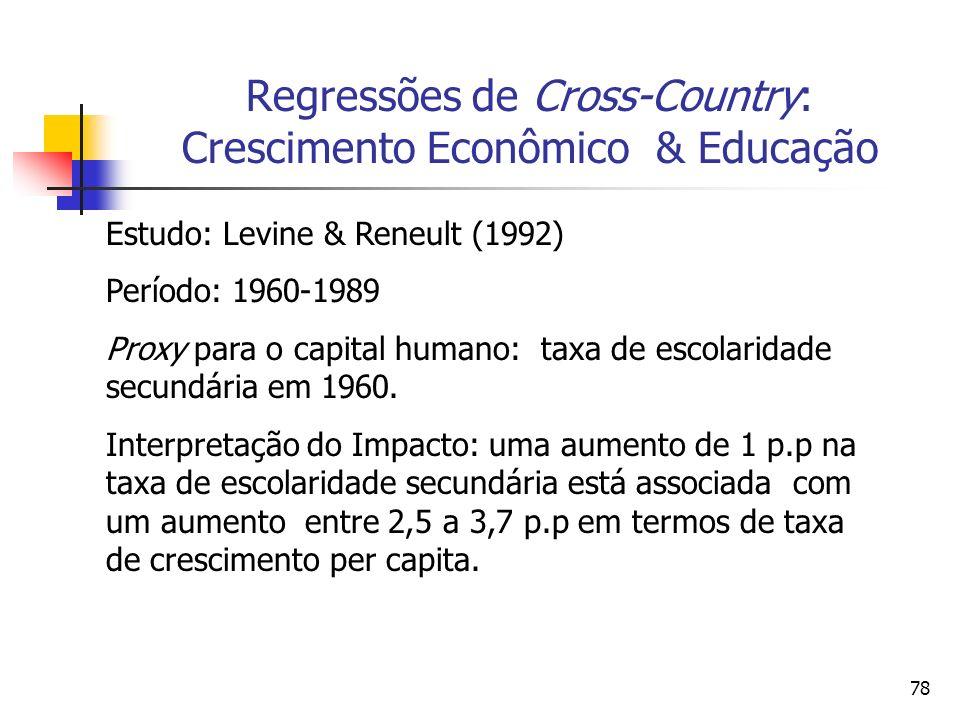 78 Regressões de Cross-Country: Crescimento Econômico & Educação Estudo: Levine & Reneult (1992) Período: 1960-1989 Proxy para o capital humano: taxa de escolaridade secundária em 1960.