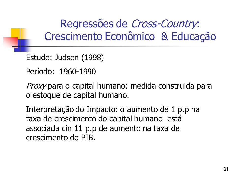 81 Regressões de Cross-Country: Crescimento Econômico & Educação Estudo: Judson (1998) Período: 1960-1990 Proxy para o capital humano: medida construida para o estoque de capital humano.