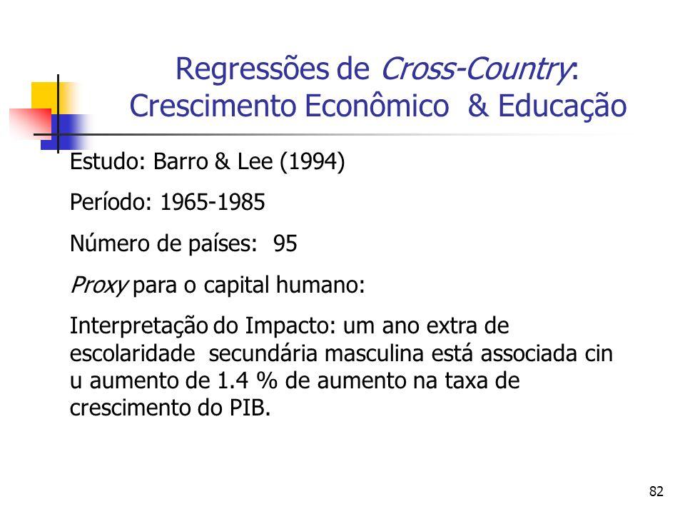 82 Regressões de Cross-Country: Crescimento Econômico & Educação Estudo: Barro & Lee (1994) Período: 1965-1985 Número de países: 95 Proxy para o capital humano: Interpretação do Impacto: um ano extra de escolaridade secundária masculina está associada cin u aumento de 1.4 % de aumento na taxa de crescimento do PIB.