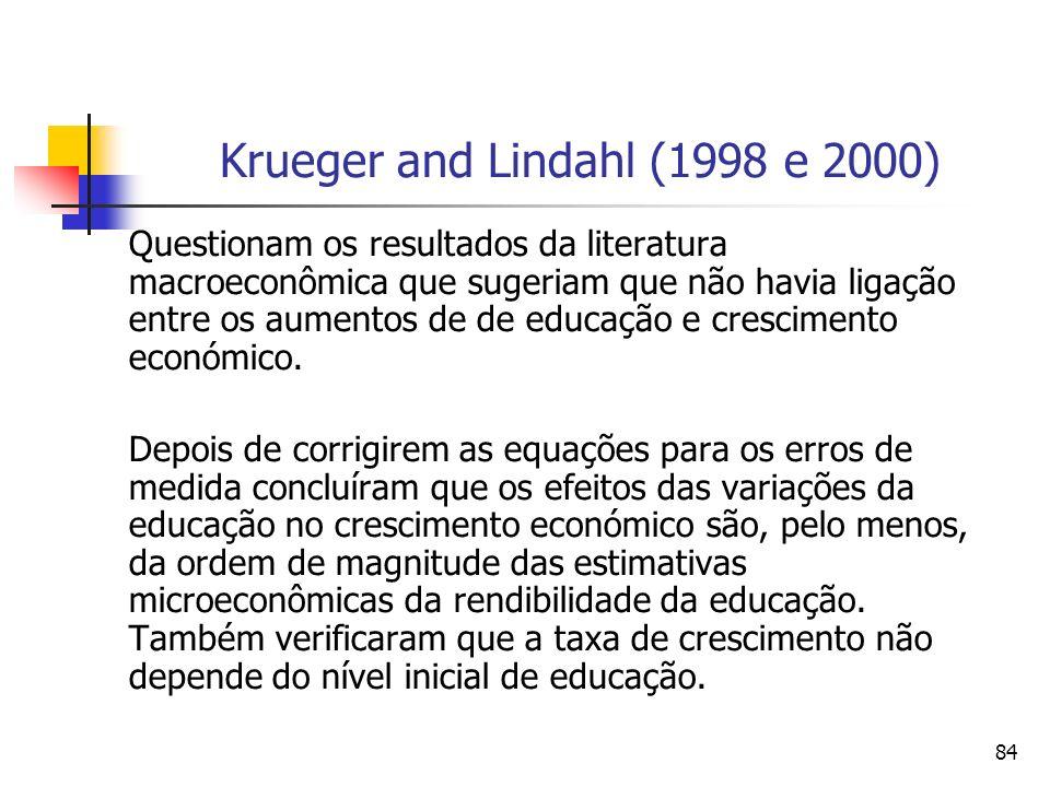 84 Krueger and Lindahl (1998 e 2000) Questionam os resultados da literatura macroeconômica que sugeriam que não havia ligação entre os aumentos de de educação e crescimento económico.