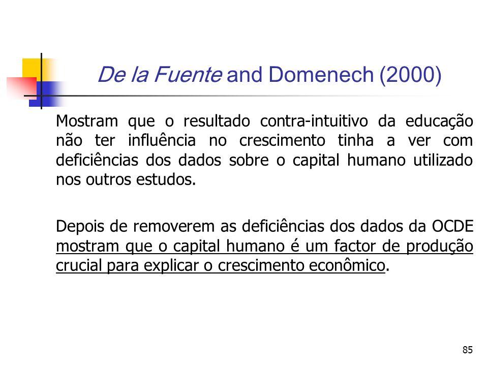 85 De la Fuente and Domenech (2000) Mostram que o resultado contra-intuitivo da educação não ter influência no crescimento tinha a ver com deficiências dos dados sobre o capital humano utilizado nos outros estudos.