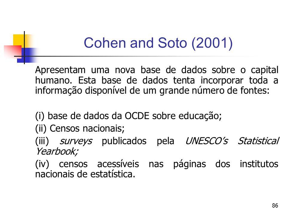 86 Cohen and Soto (2001) Apresentam uma nova base de dados sobre o capital humano.