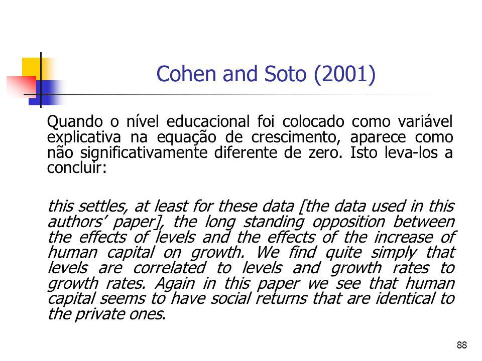 88 Quando o nível educacional foi colocado como variável explicativa na equação de crescimento, aparece como não significativamente diferente de zero.