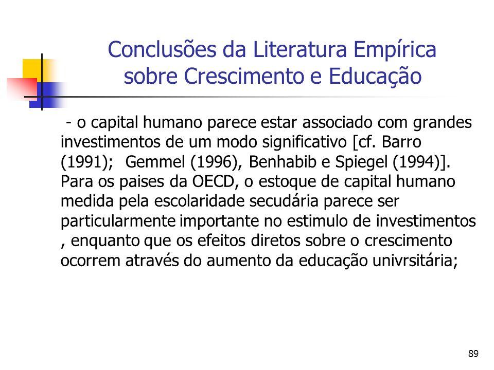 89 Conclusões da Literatura Empírica sobre Crescimento e Educação - o capital humano parece estar associado com grandes investimentos de um modo significativo [cf.