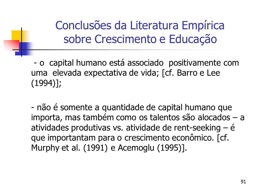 91 Conclusões da Literatura Empírica sobre Crescimento e Educação - o capital humano está associado positivamente com uma elevada expectativa de vida; [cf.