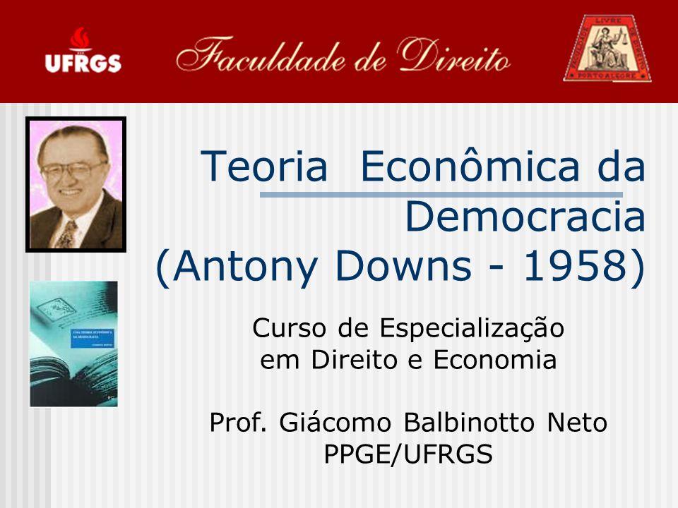 Teoria Econômica da Democracia (Antony Downs - 1958) Curso de Especialização em Direito e Economia Prof.