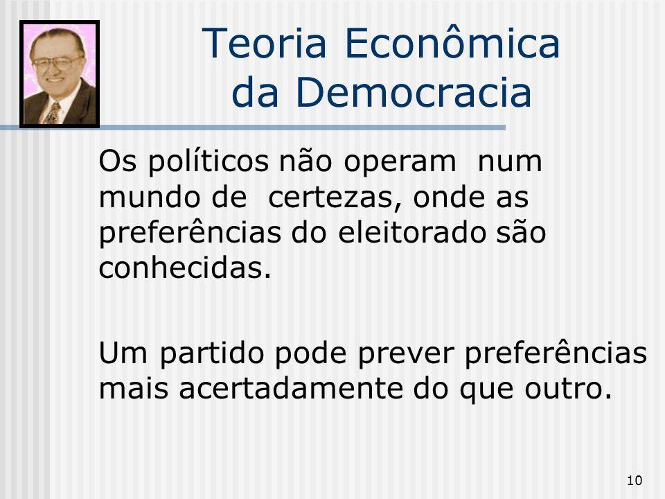 10 Teoria Econômica da Democracia Os políticos não operam num mundo de certezas, onde as preferências do eleitorado são conhecidas.