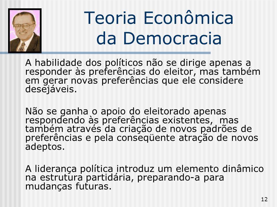 12 Teoria Econômica da Democracia A habilidade dos políticos não se dirige apenas a responder às preferências do eleitor, mas também em gerar novas preferências que ele considere desejáveis.