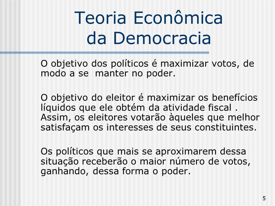 5 Teoria Econômica da Democracia O objetivo dos políticos é maximizar votos, de modo a se manter no poder.