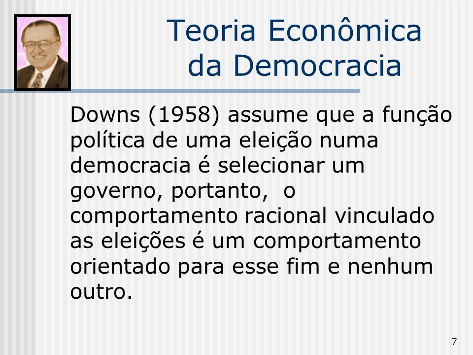 7 Teoria Econômica da Democracia Downs (1958) assume que a função política de uma eleição numa democracia é selecionar um governo, portanto, o comportamento racional vinculado as eleições é um comportamento orientado para esse fim e nenhum outro.
