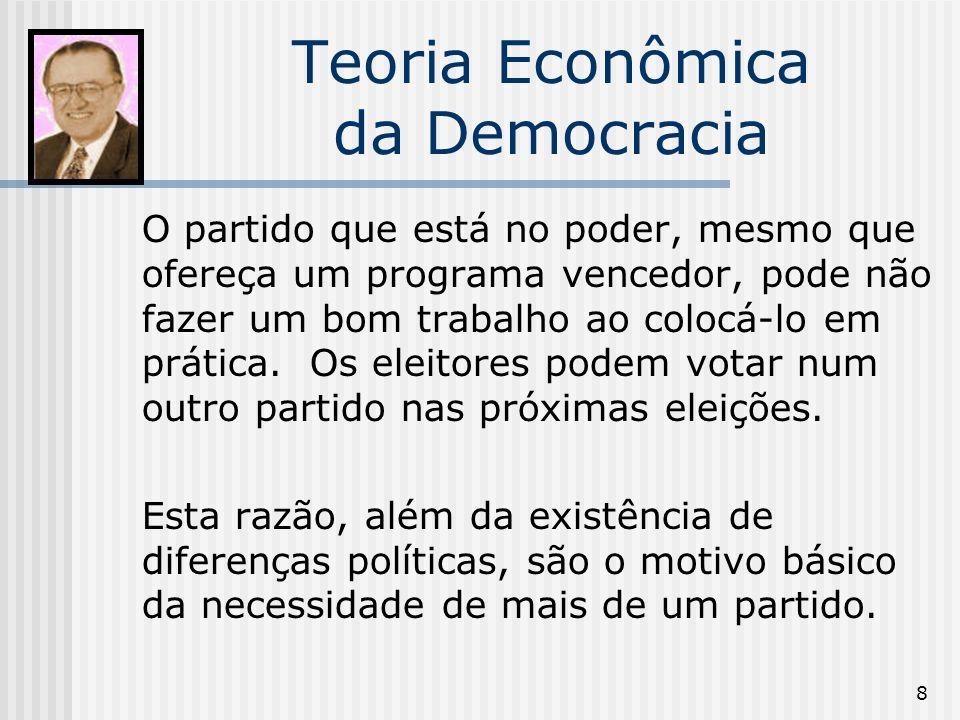 8 Teoria Econômica da Democracia O partido que está no poder, mesmo que ofereça um programa vencedor, pode não fazer um bom trabalho ao colocá-lo em prática.