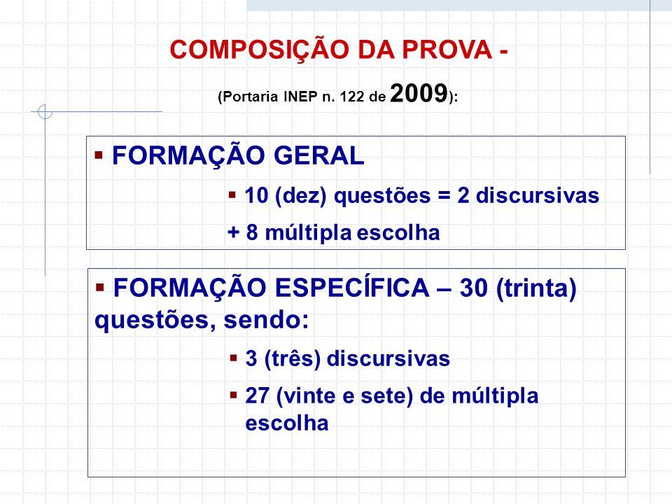 COMPOSIÇÃO DA PROVA - (Portaria INEP n.