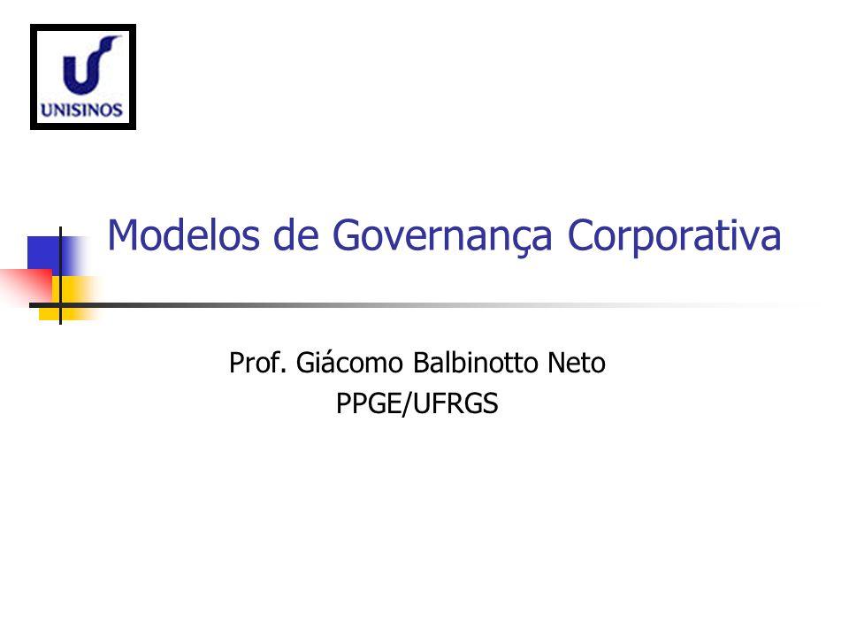 Modelos de Governança Corporativa Prof. Giácomo Balbinotto Neto PPGE/UFRGS