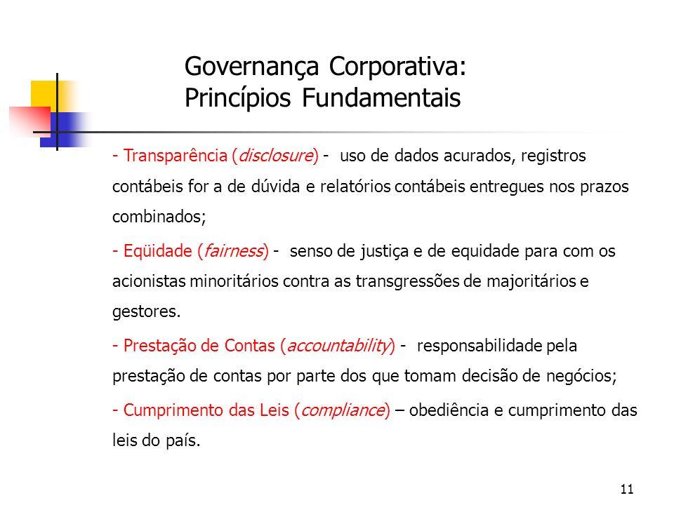 11 Governança Corporativa: Princípios Fundamentais - Transparência (disclosure) - uso de dados acurados, registros contábeis for a de dúvida e relatór