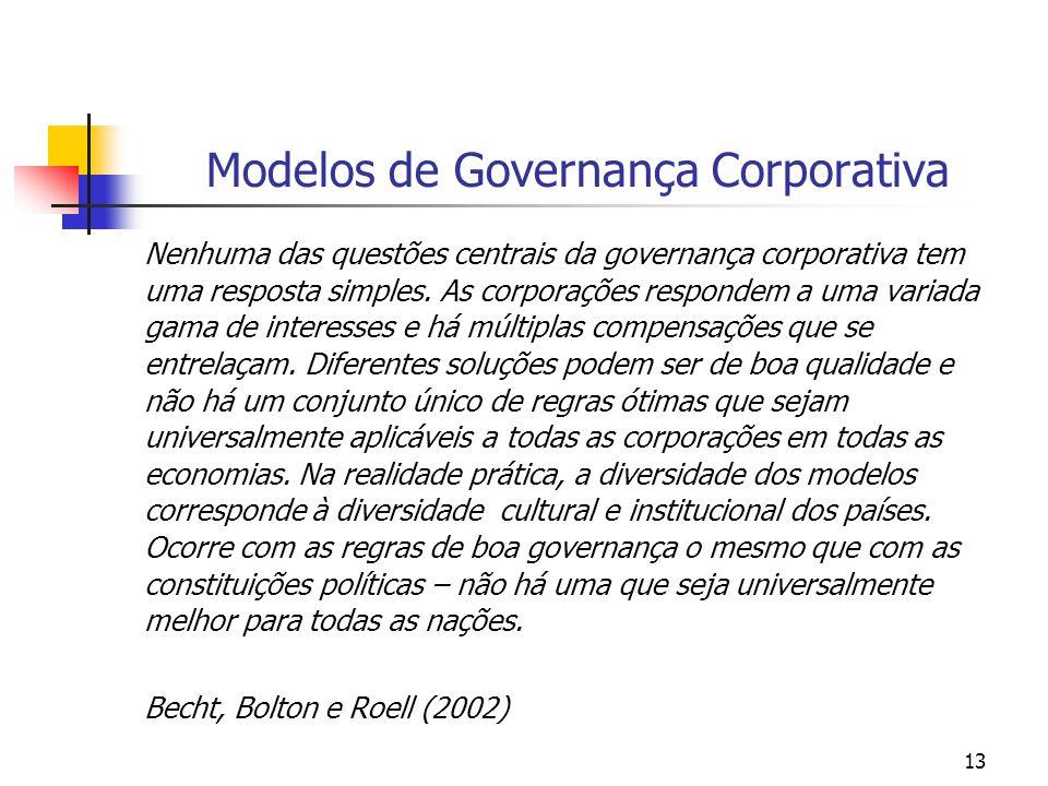 13 Modelos de Governança Corporativa Nenhuma das questões centrais da governança corporativa tem uma resposta simples. As corporações respondem a uma