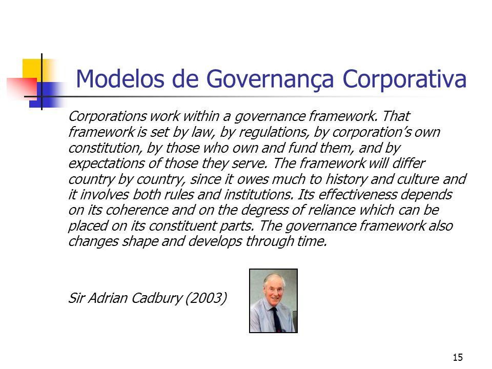 15 Modelos de Governança Corporativa Corporations work within a governance framework. That framework is set by law, by regulations, by corporations ow