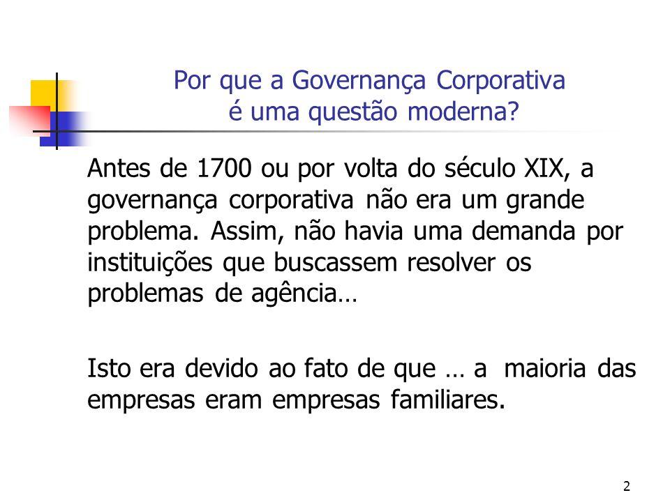 2 Por que a Governança Corporativa é uma questão moderna? Antes de 1700 ou por volta do século XIX, a governança corporativa não era um grande problem