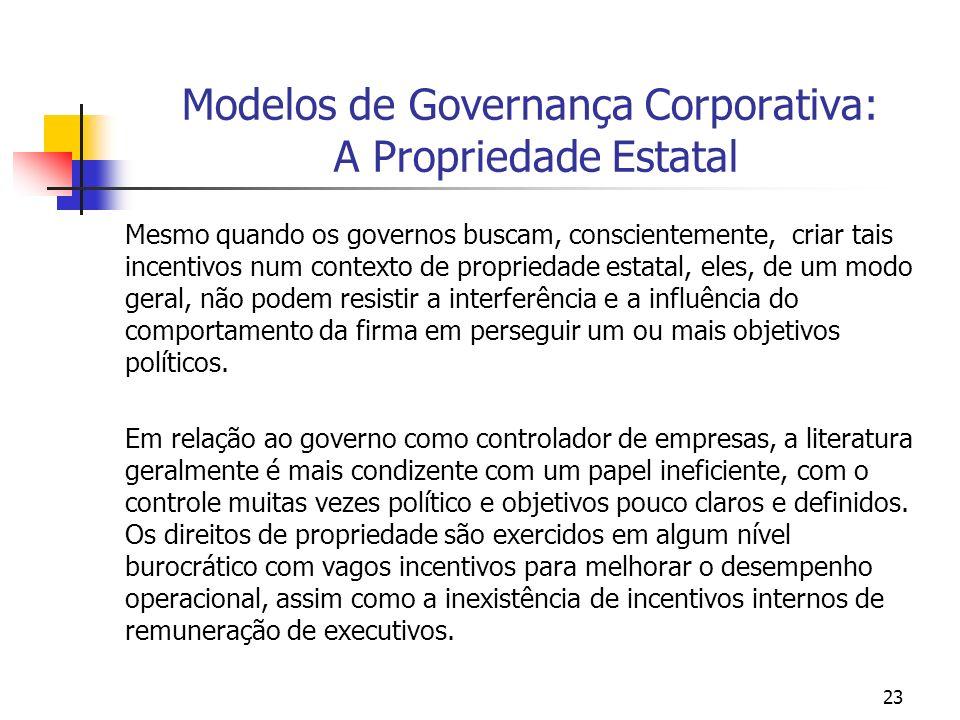 23 Modelos de Governança Corporativa: A Propriedade Estatal Mesmo quando os governos buscam, conscientemente, criar tais incentivos num contexto de pr