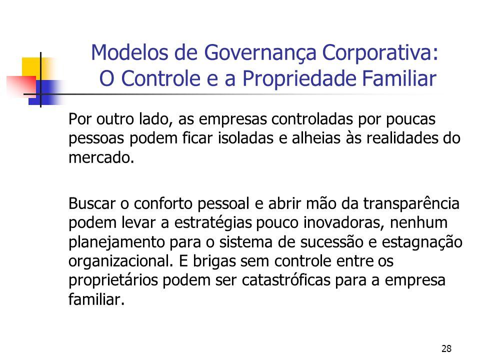 28 Modelos de Governança Corporativa: O Controle e a Propriedade Familiar Por outro lado, as empresas controladas por poucas pessoas podem ficar isola
