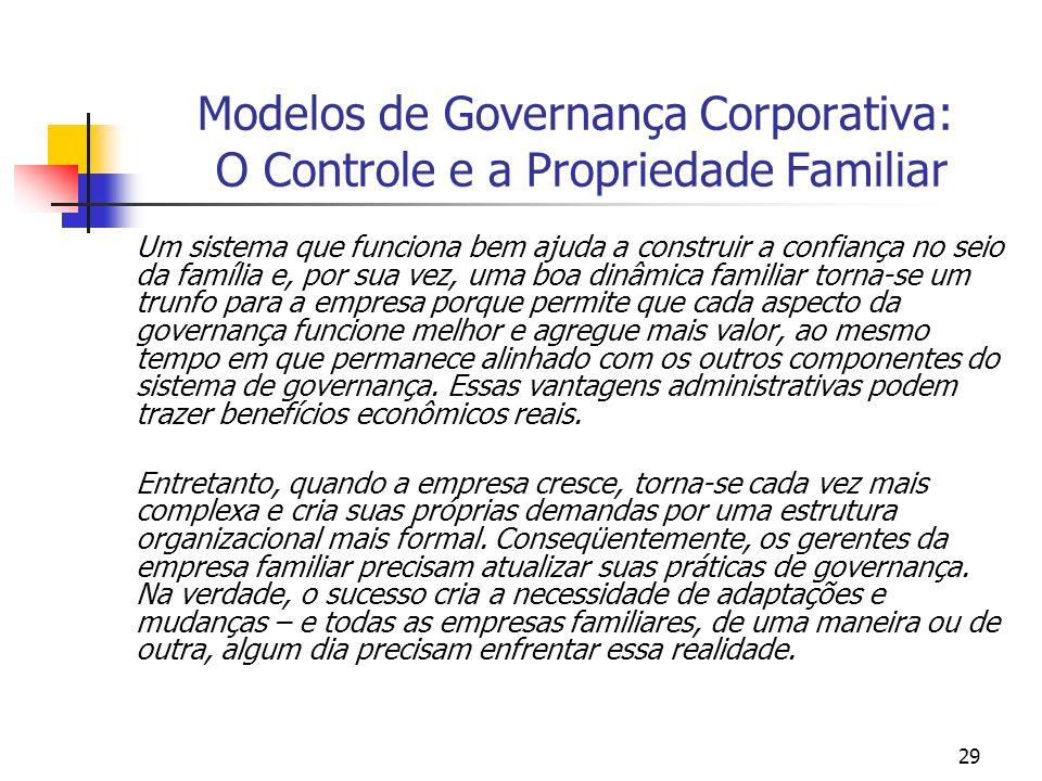 29 Modelos de Governança Corporativa: O Controle e a Propriedade Familiar Um sistema que funciona bem ajuda a construir a confiança no seio da família