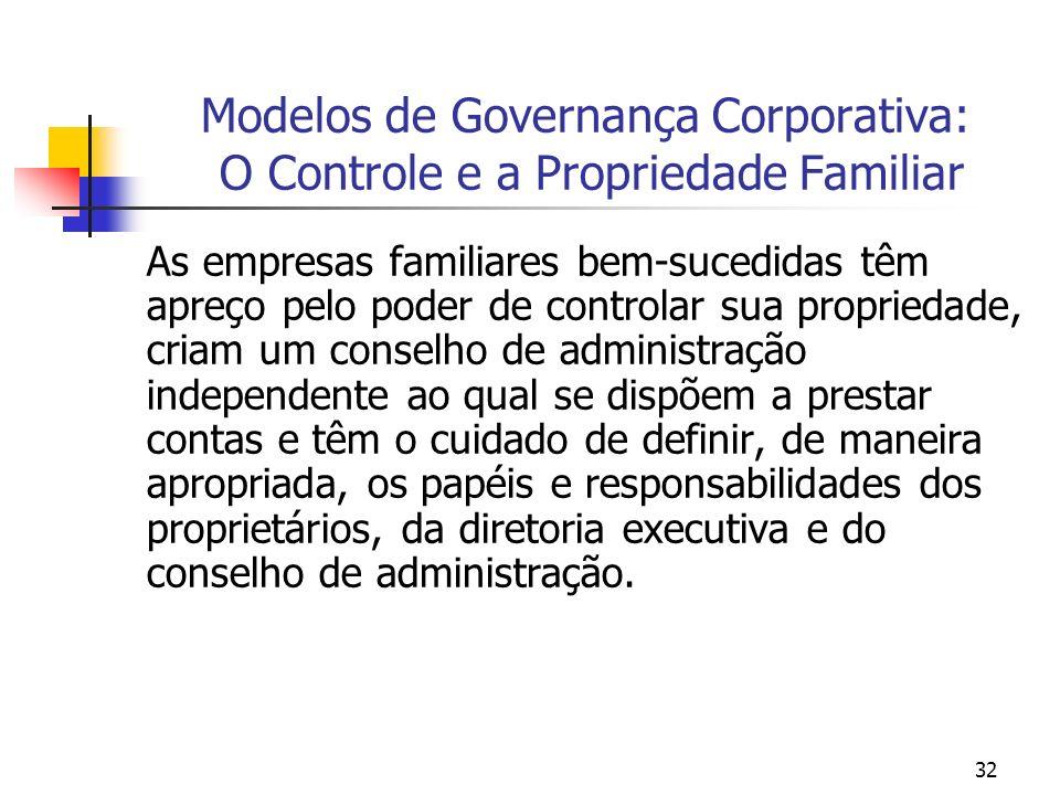 32 Modelos de Governança Corporativa: O Controle e a Propriedade Familiar As empresas familiares bem-sucedidas têm apreço pelo poder de controlar sua