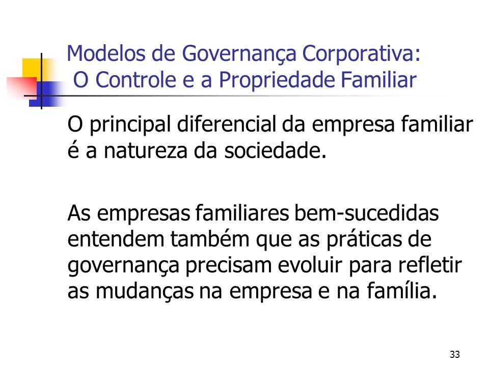 33 Modelos de Governança Corporativa: O Controle e a Propriedade Familiar O principal diferencial da empresa familiar é a natureza da sociedade. As em