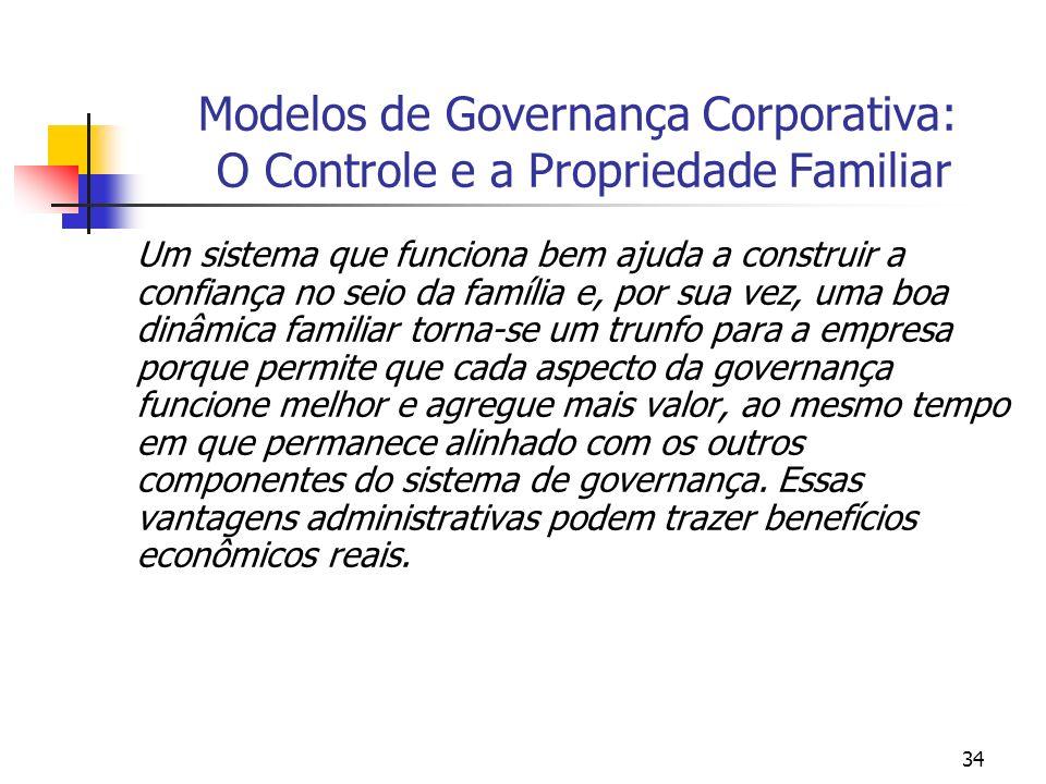 34 Modelos de Governança Corporativa: O Controle e a Propriedade Familiar Um sistema que funciona bem ajuda a construir a confiança no seio da família