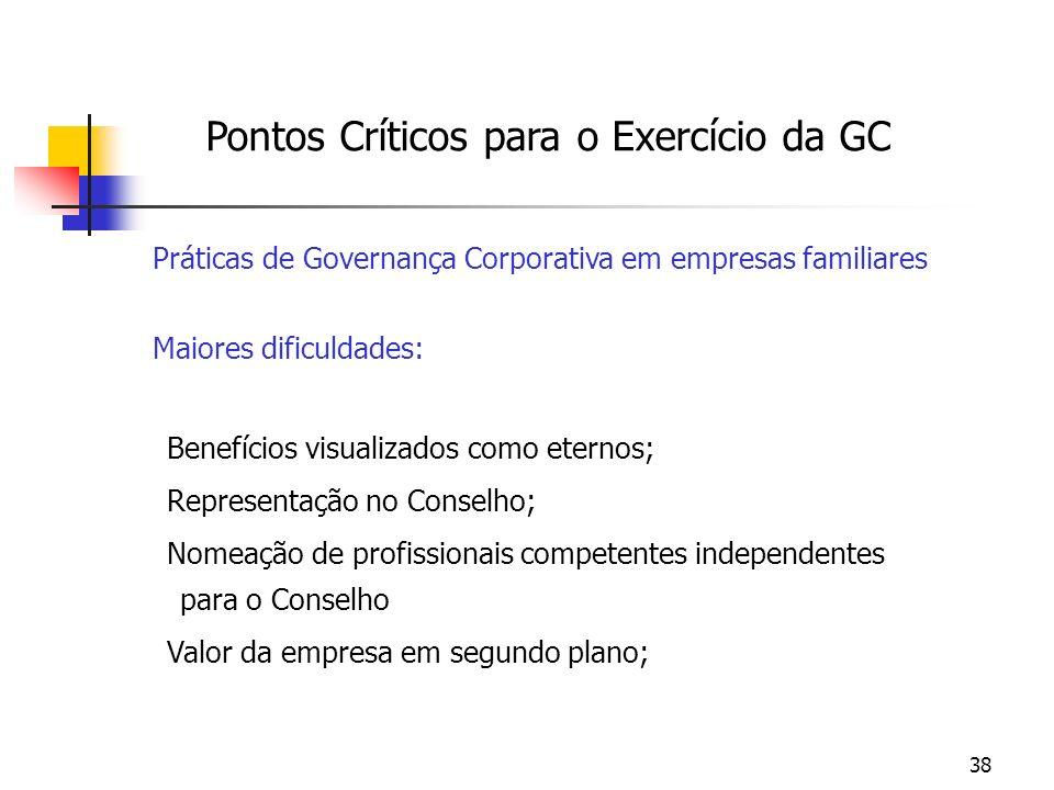 38 Pontos Críticos para o Exercício da GC Práticas de Governança Corporativa em empresas familiares Maiores dificuldades: Benefícios visualizados como