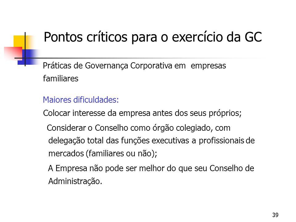 39 Pontos críticos para o exercício da GC Práticas de Governança Corporativa em empresas familiares Maiores dificuldades: Colocar interesse da empresa