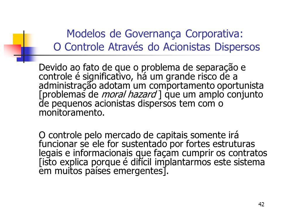 42 Modelos de Governança Corporativa: O Controle Através do Acionistas Dispersos Devido ao fato de que o problema de separação e controle é significat