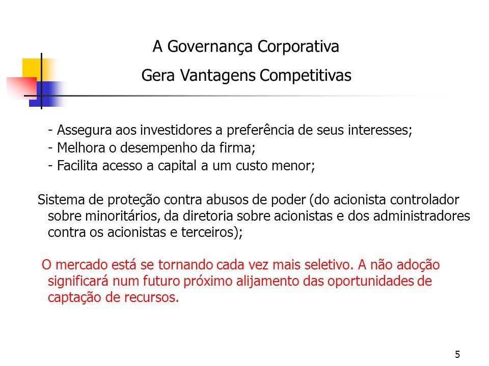 5 - Assegura aos investidores a preferência de seus interesses; - Melhora o desempenho da firma; - Facilita acesso a capital a um custo menor; Sistema