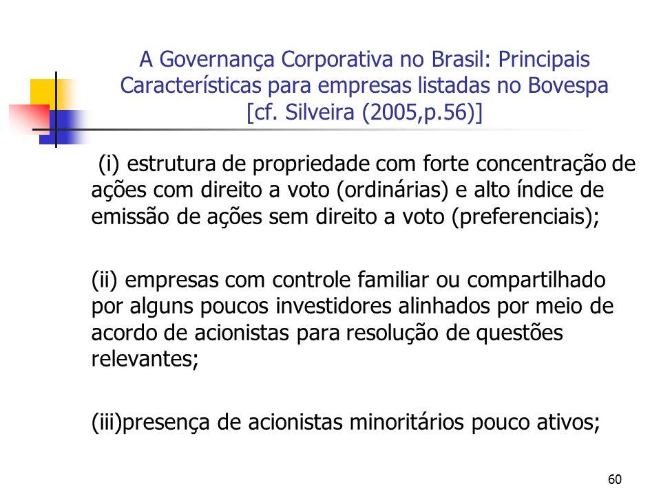 60 A Governança Corporativa no Brasil: Principais Características para empresas listadas no Bovespa [cf. Silveira (2005,p.56)] (i) estrutura de propri