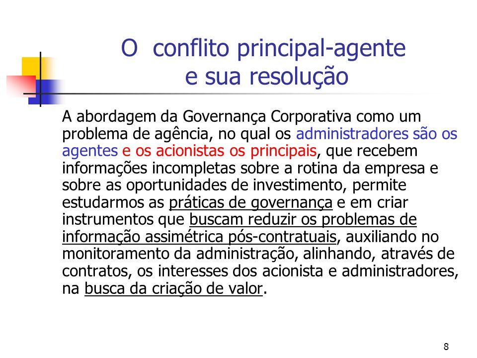 8 O conflito principal-agente e sua resolução A abordagem da Governança Corporativa como um problema de agência, no qual os administradores são os age