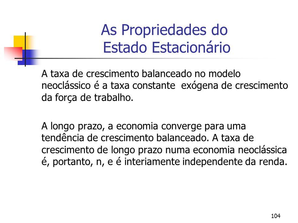 104 As Propriedades do Estado Estacionário A taxa de crescimento balanceado no modelo neoclássico é a taxa constante exógena de crescimento da força d